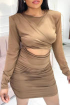 Brown Sexy Solid Split Joint O Neck Long Sleeve Two Pieces