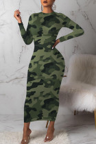 Green Sexy Print Camouflage Print Split Joint O Neck One Step Skirt Dresses