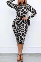 Grey Sexy Print Leopard Split Joint O Neck One Step Skirt Plus Size Dresses