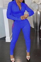 Blue Casual Solid Embroidered Split Joint Zipper Collar Long Sleeve Two Pieces