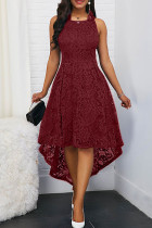 Burgundy Elegant Solid Split Joint Asymmetrical O Neck A Line Dresses