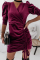 Burgundy Elegant Solid Split Joint Draw String V Neck Pencil Skirt Dresses