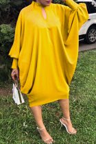 Yellow Casual Solid Hollowed Out O Neck Straight Dresses