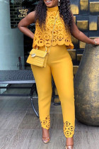 Yellow Sweet Elegant Solid Hollowed Out Split Joint Half A Turtleneck Sleeveless Two Pieces
