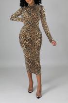 Yellow Sexy Leopard Split Joint Half A Turtleneck Pencil Skirt Dresses