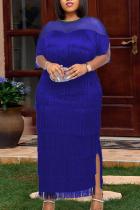 Blue Sexy Solid Tassel Mesh O Neck Irregular Dress Dresses