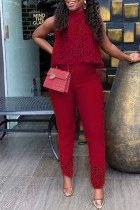 Burgundy Sweet Elegant Solid Hollowed Out Split Joint Half A Turtleneck Sleeveless Two Pieces