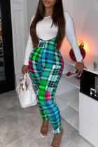 Green Casual Plaid Print O Neck Long Sleeve Two Pieces