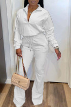 White Casual Solid Zipper Turndown Collar Long Sleeve Two Pieces
