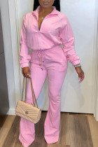Pink Casual Solid Zipper Turndown Collar Long Sleeve Two Pieces
