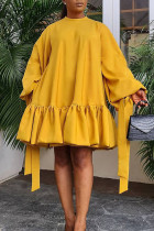 Yellow Casual Sweet Solid Split Joint Flounce Fold O Neck A Line Dresses