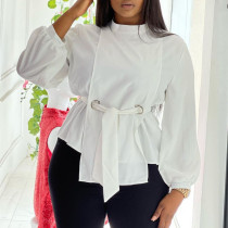 White Casual Solid Bandage Split Joint With Belt O Neck Plus Size Tops