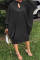 Black Casual Solid Hollowed Out O Neck Straight Dresses
