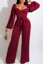 Deep Red Casual Sweet Solid Split Joint Square Collar Straight Jumpsuits