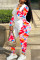 Pink Casual Print Split Joint O Neck Plus Size Two Pieces