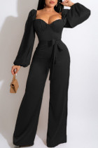 Black Casual Sweet Solid Split Joint Square Collar Straight Jumpsuits