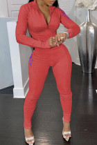Rose Red Casual Solid Embroidered Split Joint Zipper Collar Long Sleeve Two Pieces