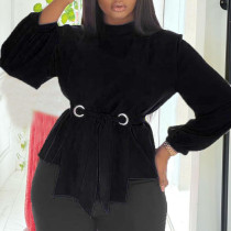 Black Casual Solid Bandage Split Joint With Belt O Neck Plus Size Tops