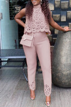 Pink Sweet Elegant Solid Hollowed Out Split Joint Half A Turtleneck Sleeveless Two Pieces