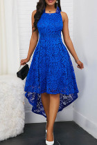 Blue Elegant Solid Split Joint Asymmetrical O Neck A Line Dresses