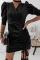 Black Elegant Solid Split Joint Draw String V Neck Pencil Skirt Dresses