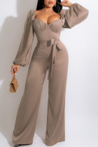 Champagne Casual Sweet Solid Split Joint Square Collar Straight Jumpsuits
