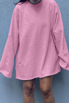 Light Pink Casual Solid Split Joint O Neck Straight Dresses