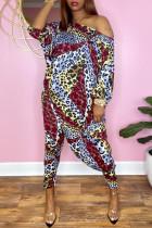 Leopard Print Fashion Casual Print Asymmetrical Oblique Collar Long Sleeve Two Pieces
