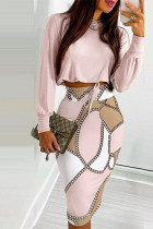 Pink Casual Work Print Split Joint O Neck Long Sleeve Two Pieces