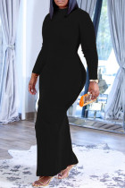 Black Casual Solid Split Joint O Neck One Step Skirt Plus Size Dresses