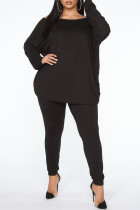Black Sexy Solid Backless V Neck Plus Size Two Pieces
