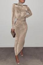 Gold Fashion Celebrities Solid Split Joint Half A Turtleneck One Step Skirt Dresses
