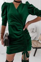 Green Elegant Solid Split Joint Draw String V Neck Pencil Skirt Dresses