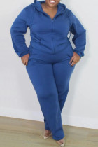 Blue Fashion Casual Solid Cardigan Pants Hooded Collar Plus Size Two Pieces