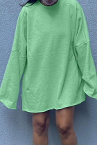 Light Green Casual Solid Split Joint O Neck Straight Dresses
