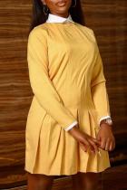 Yellow Casual Solid Split Joint Turndown Collar Cake Skirt Dresses