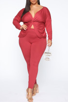 Red Sexy Solid Backless V Neck Plus Size Two Pieces
