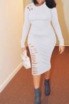 White Casual Broken Holes Twilled Satin Knee Length Dress