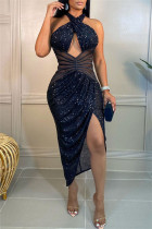 Black Sexy Patchwork Hollowed Out Sequins Backless Halter Sleeveless Dress Dresses
