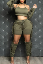 Army Green Fashion Sexy Solid Tassel Hollowed Out O Neck Long Sleeve Two Pieces