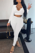 White Fashion Casual Solid Basic V Neck Long Sleeve Two Pieces