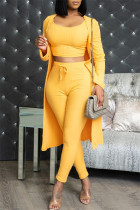 Yellow Fashion Casual Solid Cardigan Vests Pants O Neck Long Sleeve Three-piece Set