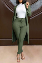 Dark Green Fashion Solid Cardigan Pants Long Sleeve Two Pieces