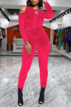 Watermelon Red Casual Solid Split Joint Fold O Neck Skinny Jumpsuits