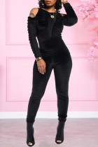 Black Casual Solid Split Joint Fold O Neck Skinny Jumpsuits