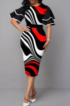 Red Casual Print Flounce O Neck Pencil Skirt Dresses