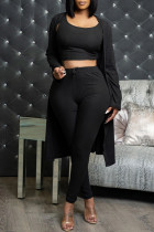Black Fashion Casual Solid Cardigan Vests Pants O Neck Long Sleeve Three-piece Set