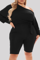 Black Fashion Casual Solid Basic Oblique Collar Plus Size Romper