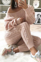 Light Pink Fashion Casual Long Sleeve Oblique Collar Regular Sleeve Regular Solid Two Pieces