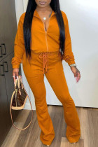 Orange Casual Solid Zipper Turndown Collar Long Sleeve Two Pieces